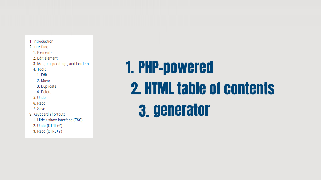 HTML table of contents generator